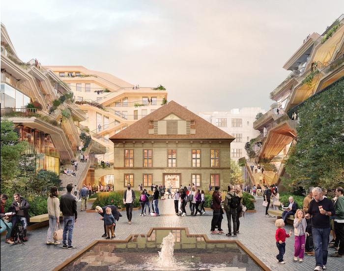 """V rámci projektu Savarin bude """"osvobozena"""" budova jízdárny, kolem ní vznikne systém střešních teras, zdroj: studio Heatherwick."""