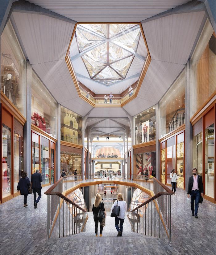 V jednotlivých budovách by měly vzniknout ve spolupráci s českými sklárnami průhledy, zdroj: studio Heatherwick.