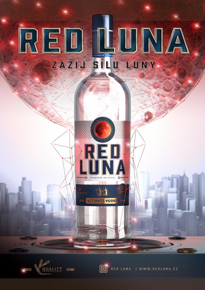 Klíčový vizuál lotyšské vodky Red Luna, zdroj: Premier Wines & Spirits
