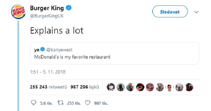 Burger King si vystřeli z rappera kanye Westa i McDonald´s. Zdroj: Twitter a Burger King