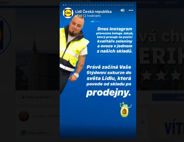 Lidl předá na pět dní svým zaměstnancům Facebook Stories a Instagram Stories, zdroj: FB Lidl.