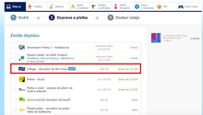 Alza možnost přepravy přes Liftago nabízí svým zákazníkům už od října, zdroj: Alza.cz.