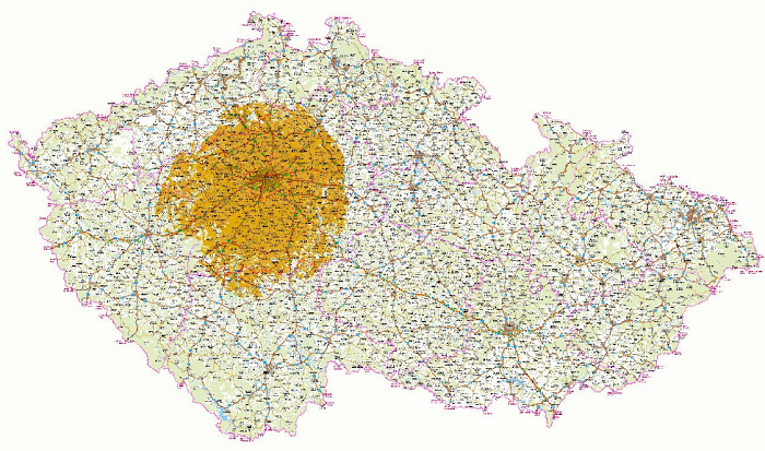 První oblastí ČR, kde dojde k zapnutí finální sítě DVB-T2, je oblast Prahy a středních Čech, zdroj: ČT