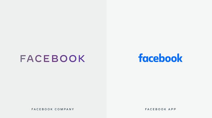 Facebook rozděluje vizuální identitu pro svou firmu a aplikaci, zdroj: FB.