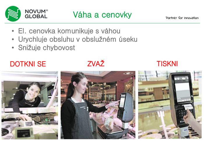 Elektronické cenovky mohou kromě zobrazení informací o produktu i komunikovat s váhou a urychlit tak pultový prodej, zdroj: Novum Global