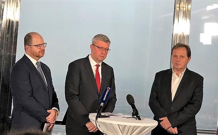 Vít Vážan, Karel Havlíček a Petr Dvořák na tiskové konferenci, foto: MediaGuru.cz