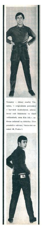 Pravděpodobně první inzerát na texasky, který v Československu vyšel, zdroj: Jeans Story. Retro Blue.