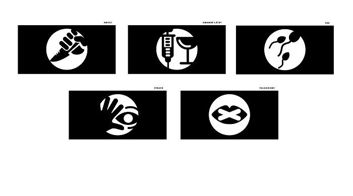 Piktogramy upozorňující na obsahy s prvky: násilí, omamných látek, sexu, strachu a vulgarismů, zdroj: ČT