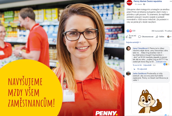 Pokladní v Penny Marketu dostane od března plat v rozmezí od 24 tisíc až do téměř 30 tisíc Kč měsíčně, zdroj: FB Penny Market