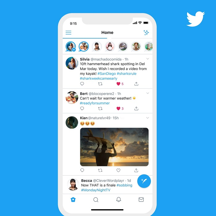 Fleety se zobrazují v horní části feedu, zdroj: Twitter.