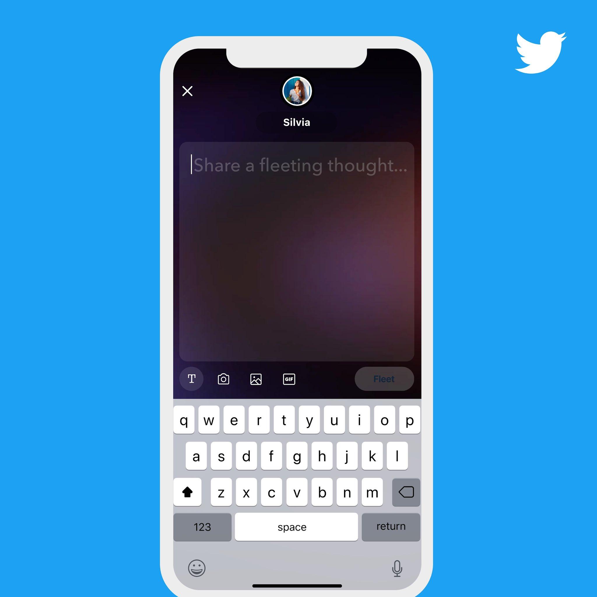 Po rozkliknutí ikony + bude možné do nově otevřeného pole přidávat text, fotografie, videa či GIFy, zdroj: Twitter.