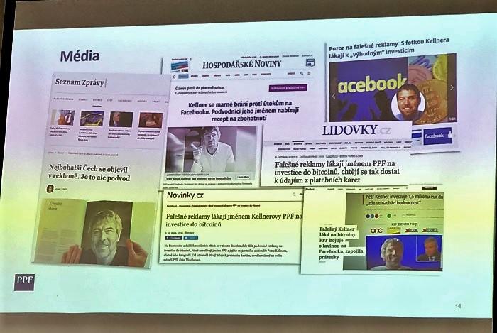 PPF bojovla s falešnými reklamami na Facebooku, zdroj: prezentace R. Ochvata na NMI 2020