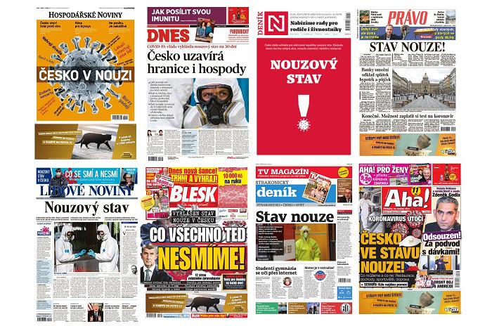 Titulní strany českých deníků v pátek 13. března 2020