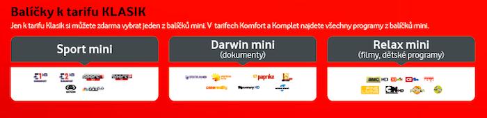 Vodafone TV –přehled volitelných balíčků k tarifu Klasik, zdroj: Vodafone