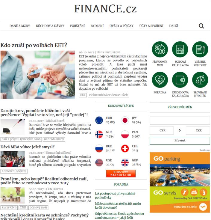 Nová podoba serveru Finance.cz