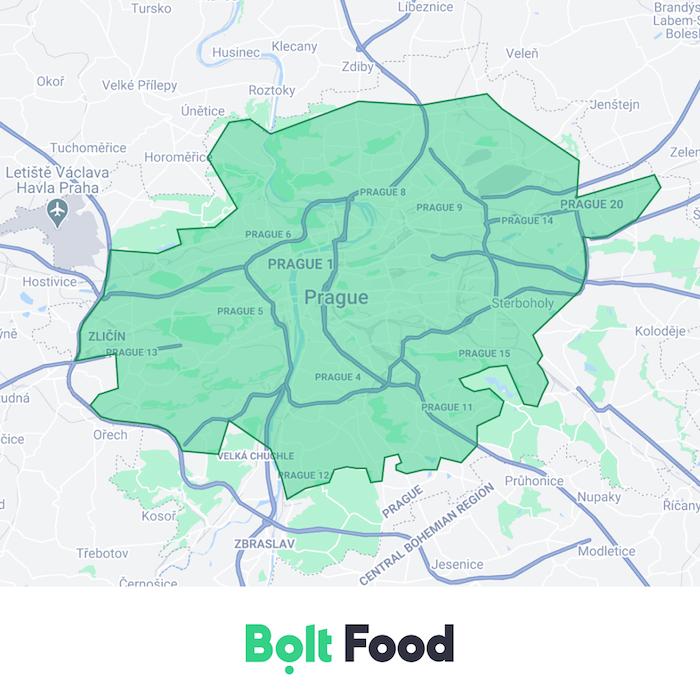 Území, na kterém začíná rozvážet Bolt Food, zdroj: Bolt.