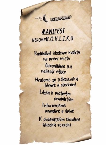 Manifest privátní značky Bez kompromisu, zdroj: Rohlík.cz