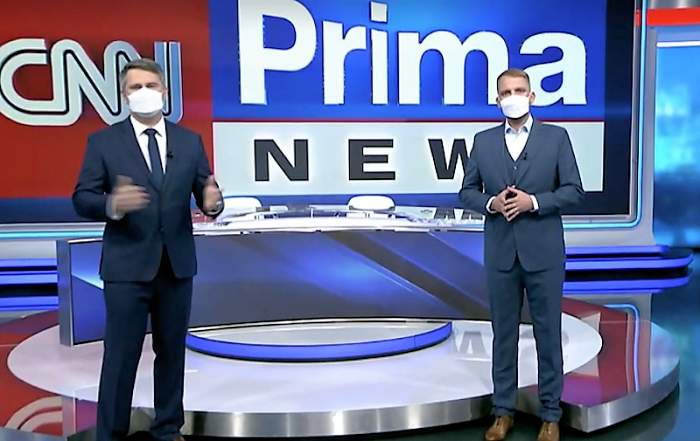 Marek Singer a Libor Bouček ve studiu CNN Prima News, zdroj: repro iPrima.cz