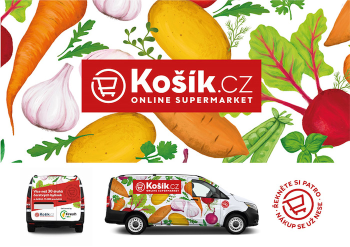 Košík.cz pozmění logo i polepy svých aut, zdroj: Košík.cz.
