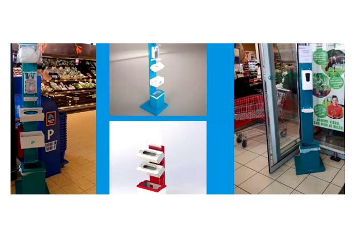 Stojany na dezinfekci, stěny z plexiskla či ochranné štíty vyrábí i firma HL Display, zdroj: HL Display.