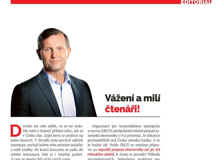 Editorial časopisu Týden č. 17/2020, repro: Týden