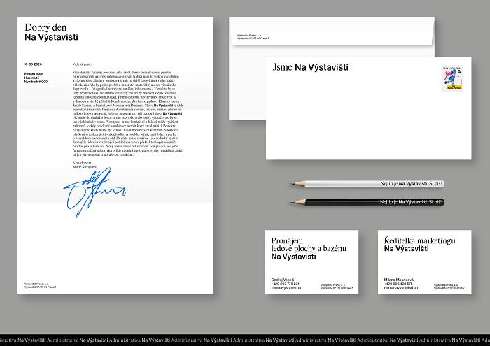 Vizitky či hlavičkový papír s novou vizuální identitou, zdroj: Výstaviště Praha