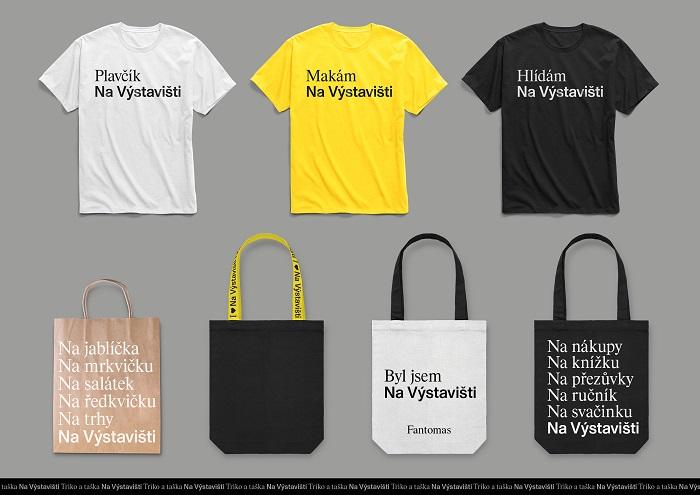 Trička a tašky s novou vizuální identitou, zdroj: Výstaviště Praha