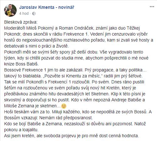 Repro: Facebookový účet Jaroslava Kmenty