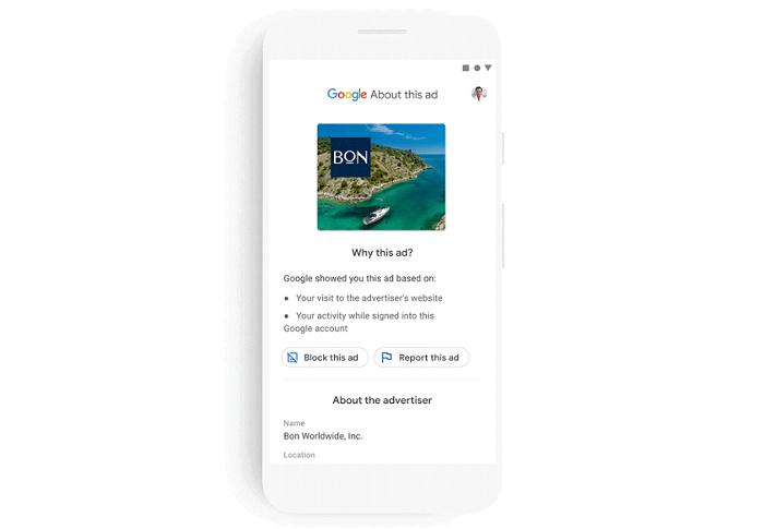 """Nástroj """"Why this ad"""" nahradí """"About this ad"""", který podá více informací o zadavateli reklam než doposud, zdroj: Google."""