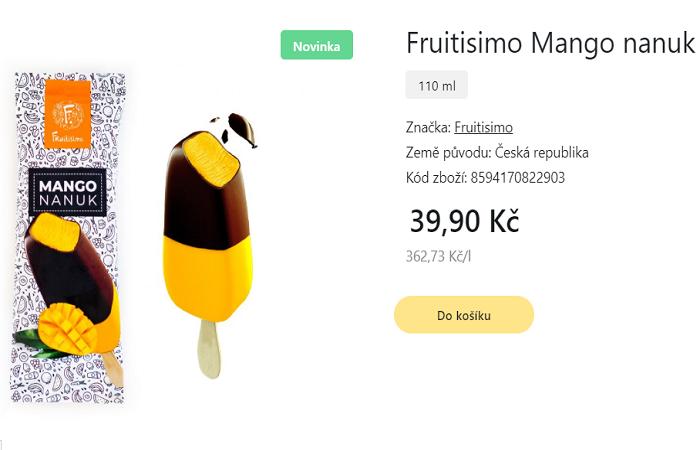 Kromě nanuků s příchutí Mango za 39,90 Kč jsou k dostání i různé příchutě rodinného balení zmrzlin za 169,90 Kč, zdroj: web Košík.cz