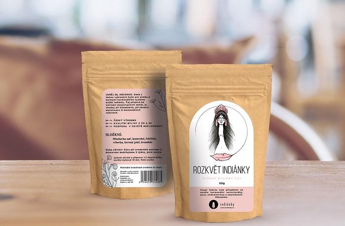 Bylinkový čaj Rozkvět indiánky pro podporu hormonální rovnováhy u žen, zdroj: Dm drogerie markt.