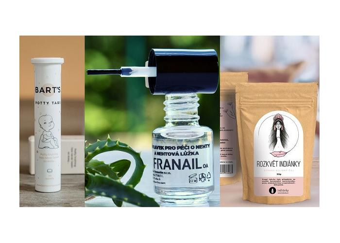 Vítězné produkty ze soutěže Dm drogerie markt na podporu českých start-upových projektů, zdroj: Dm drogerie markt.