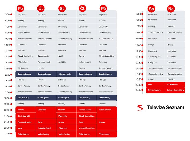 Programové schéma Televize Seznam, podzim 2020