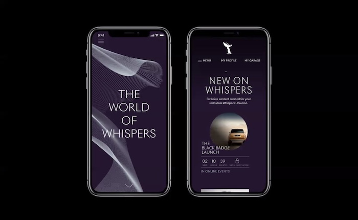 Nová vizuální identita se propíše i do aplikace Whispers, zdroj: Rolls-Royce.