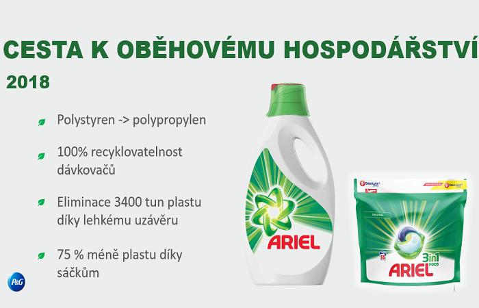 U balení pracího prostředku Ariel změnila firma řadu věcí, aby omezila dopady na životní prostředí, zdroj: P&G