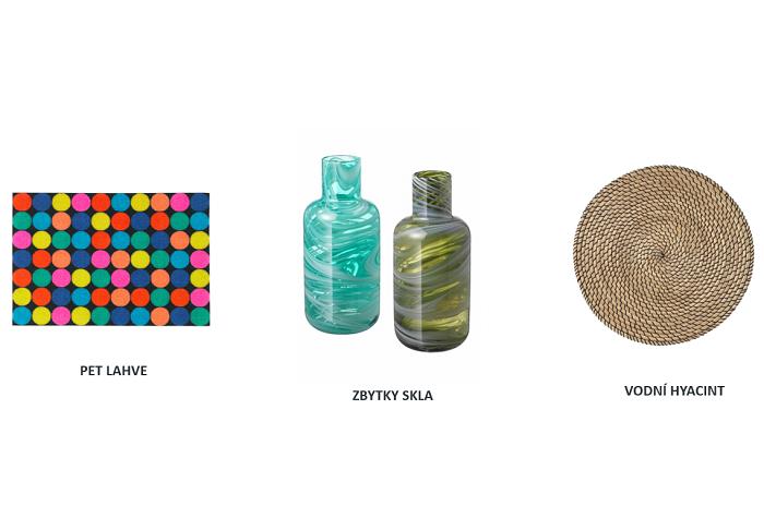 V Ikea podporují recyklaci i u dodavatelů, příkladem je rohožka z pet lahví, vázy ze zbytků skla nebo prostírání z plevele, zdroj: Ikea
