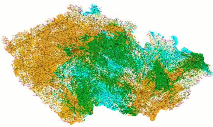 Stávající pokrytí – oranžová, nové pokrytí 2020 – tyrkysová, překryv pokrytí – zelená. Zdroj: CRA