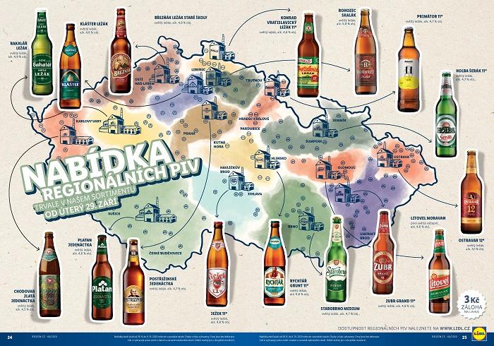 Regionální piva ve stálé nabídce Lidlu, zdroj: Lidl