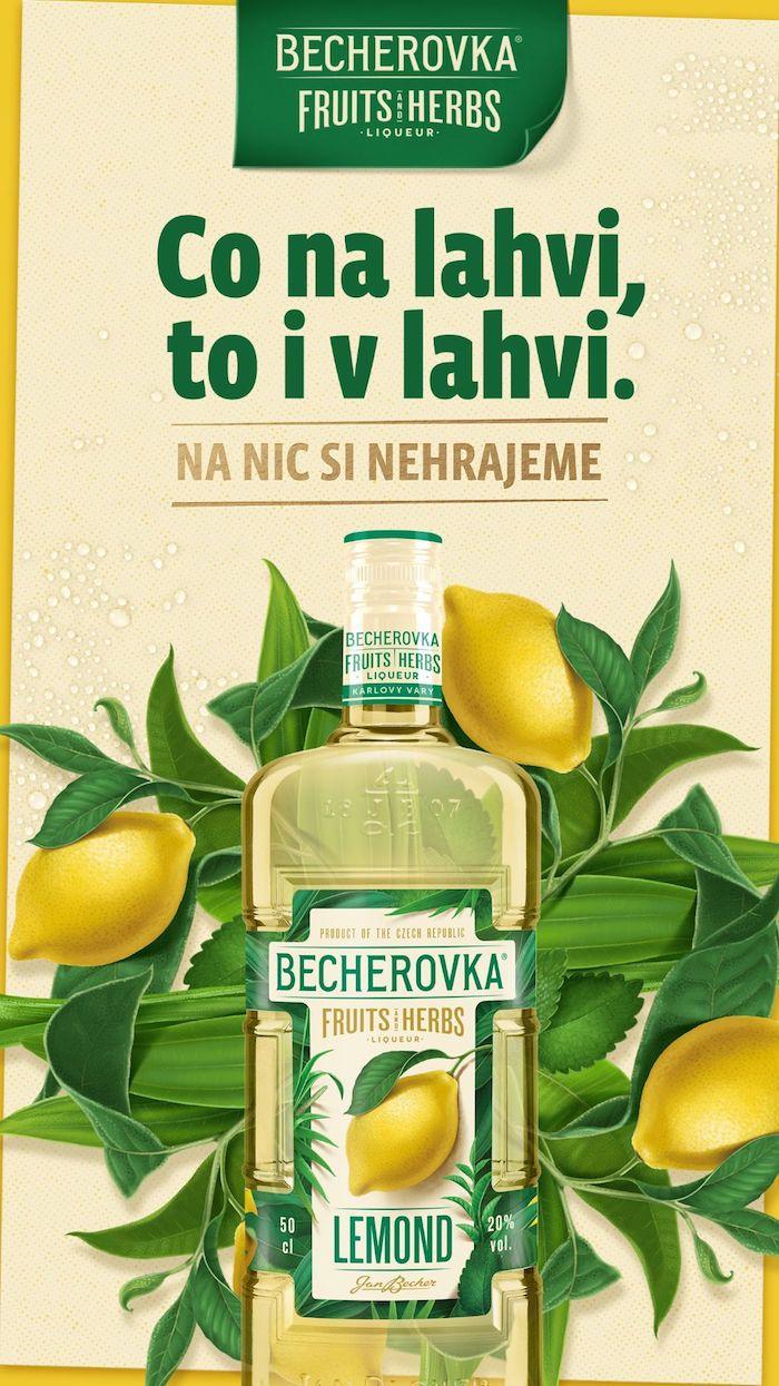 Klíčový vizuál k redesignované Becherovce Lemond, zdroj: Jan Becher Pernod Ricard