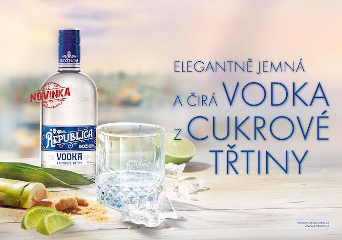 Klíčový vizuál k podpoře novinky Božkov Republica Vodka, zdroj: Stock Plzeň-Božkov