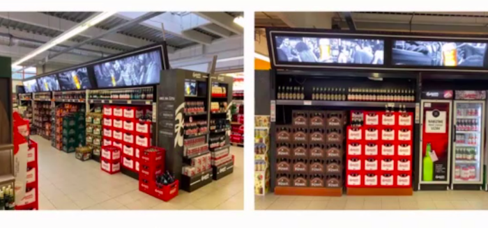 Přestavěná zóna alko & nealko nápojů v prodejně Terno v Českých Budějovicích, zdroj: Budějovický Budvar.
