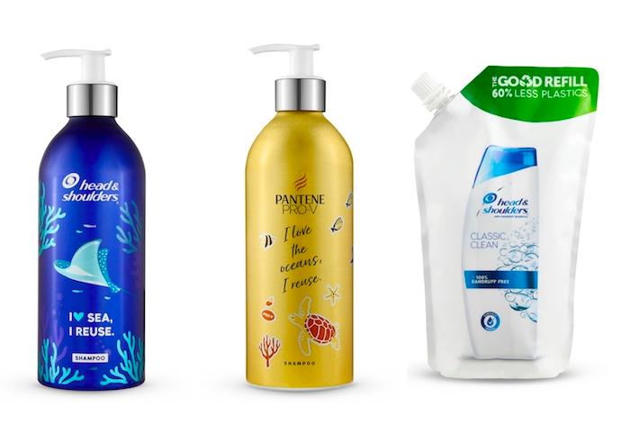 Vlasovou kosmetiku nabídne P&G ve znovupoužitelných hliníkových lahvích, zdroj: P&G.