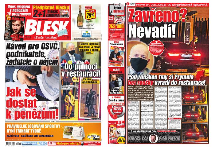 Titulní strana a strana 2 deníku Blesk, který informoval o schůzce exministra v zavřené restauraci, zdroj: repro Blesk