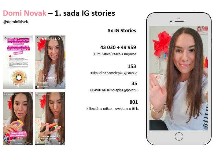 Dominika uvedla 4 IG posty a několik sad IG Stories, zájem sledujících ji samotnou překvapil, zdroj: Stabilo/Fuse