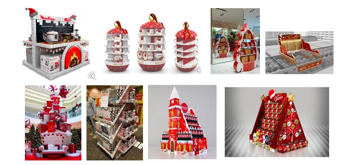Příklady zahraničních vystavení vánočních balíčků, zdroj: POPAI CE a Pinterest