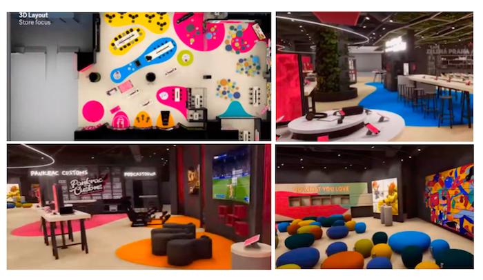 Vizualizace architekta (vlevo nahoře) vs. procházka virtuální realitou, zdroj: T-Mobile