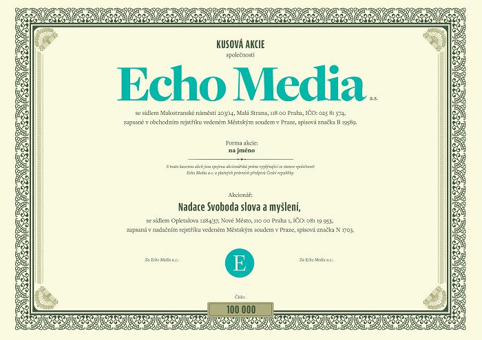 Ukázka kusové akcie Echo Media, zdroj: Echo Media