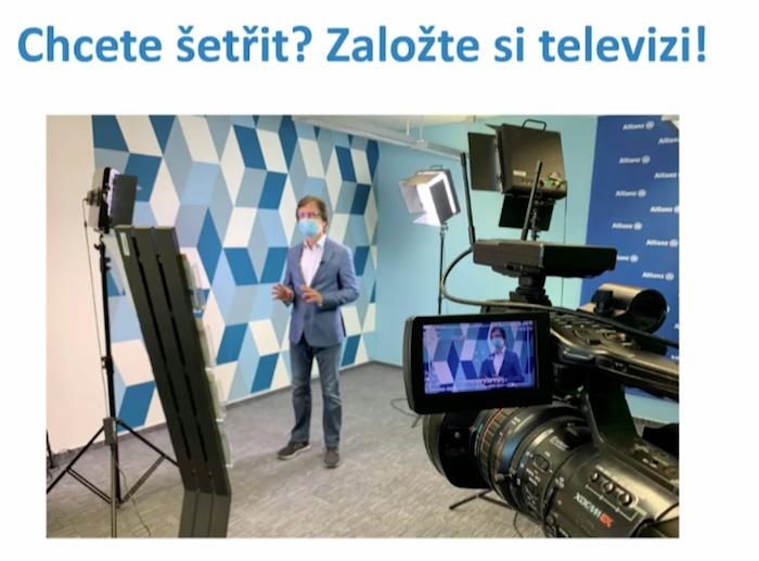 Televizní studio Allianz pojišťovny, zdroj: prezentace na Communication Summit 2020