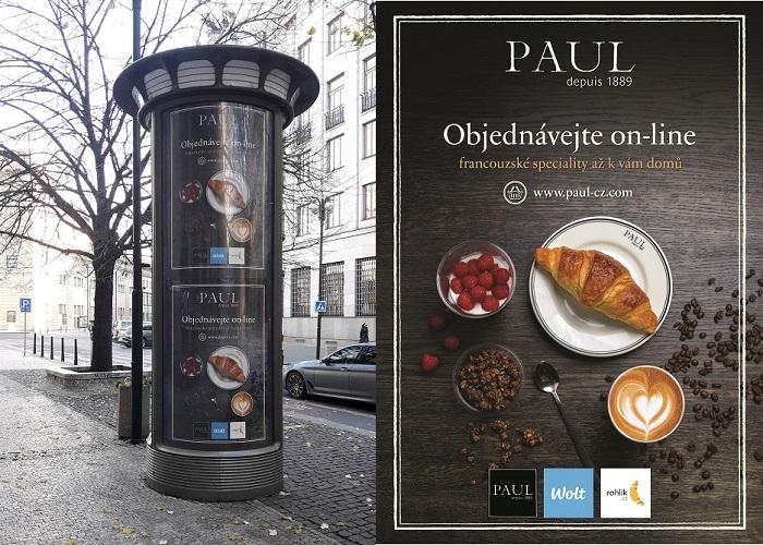 Pekařství Paul propaguje prodej svých produktů online na 110 CLV rámech po Praze, zdroj: Paul