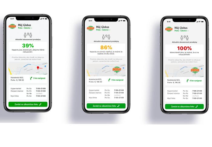 Aplikace nabízejí kromě věrnostních systémů i stále více dalších funkcionalit, třeba o vytíženosti prodejen, zdroj: Globus